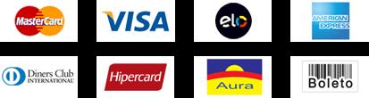 Meios de pagamento: MasterCard, Visa, Elo, American Express, Dinners Club Internarcional, Hipercard, Aura, Boleto